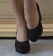 Элегантные женские туфли-лодочки на каблуке с тракторной подошвой