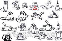 """Наклейка на авто """"Кот Саймона"""" (белая) 25х15 см (кот) и 13х6 см (тарелка) с монтажной пленкой, фото 2"""