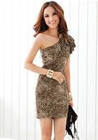 Платье на одно плечо леопардового окраса F181820311