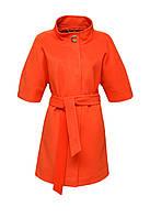 Пальто Icon с коротким рукавом и поясом оранжевое