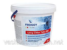 Long Chlor Tabs 200, 5 кг средство длительной дезинфекции воды. Химия для бассейна FROGGY™
