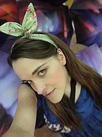 Повязка для волос зеленая с цветочным принтом