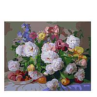 "KHO 281 ""Цветы и персики"" Роспись по номерам на холсте (без коробки) 40х50см"