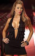 Женское черное платье - сарафан с брошью K3391-2