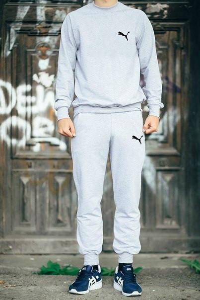 Мужской Спортивный костюм Puma серый (черный принт)