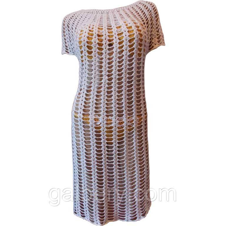 3c7469d70686a Белое вязаное крючком пляжное платье большого размера, цена 1 600 грн.,  купить в Киеве — Prom.ua (ID#329399187)