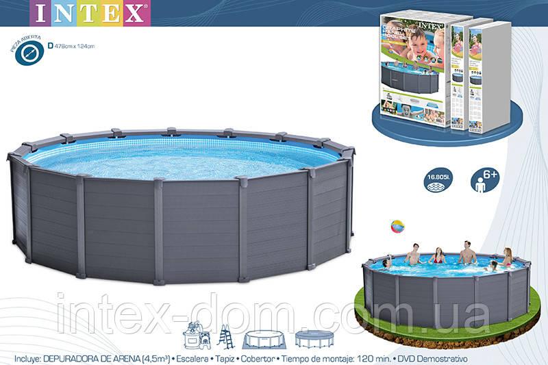 Каркасный круглый бассейн Intex Sequoia Spirit 28382, 478х124 см