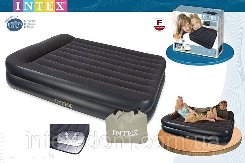 Надувная кровать Intex 66720 ИНТЕКС (152х 203 х 47 см) Pillow Rest…киев