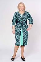 Комбинированное платье с узором в больших размерах