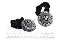 Велюровая резинка для волос полукруг с камушками, 1 шт.