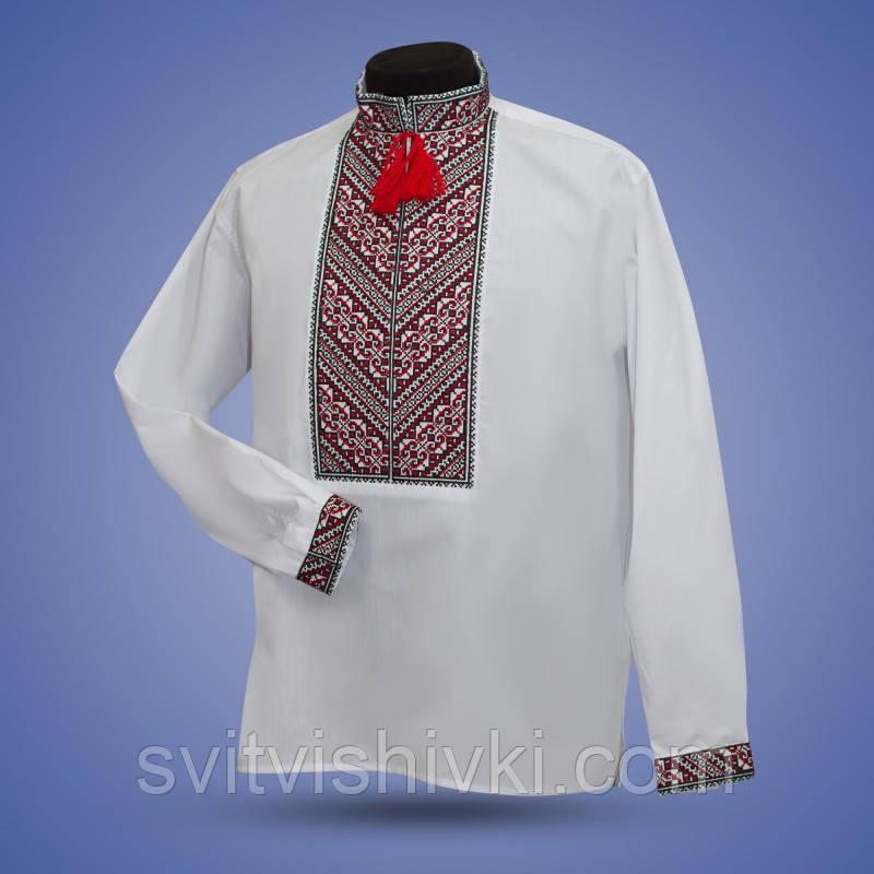 Вышитая мужская сорочка с необычным орнаментом красного цвета