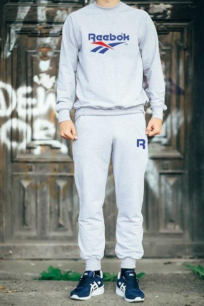 Мужской Спортивный костюм Reebok серый ( с синим и красным принтом)
