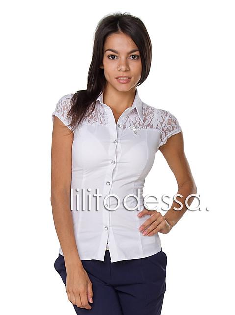 Блуза с ажурными плечиками белый