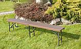 Комплект розкладних садових меблів Стіл 1,8м + 2 лавки, фото 8