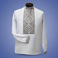 Вышитая мужская рубашка с серым орнаментом на белом батисте