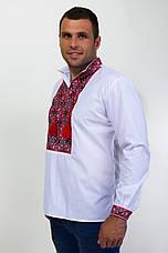 Мужская вышитая сорочка с широким красным орнаментом , фото 3