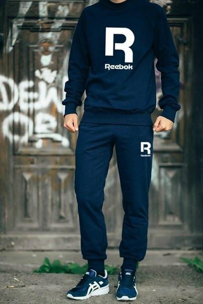 Мужской Спортивный костюм Reebok т.синий (большой принт)