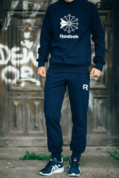Мужской Спортивный костюм Reebok т.синий (с большим принтом)