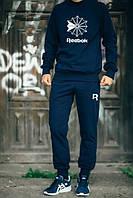 Мужской Спортивный костюм Reebok т.синий(с большим принтом)
