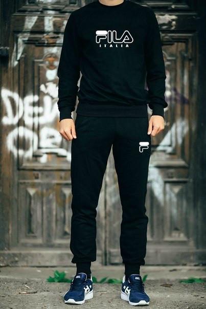 Мужской Спортивный костюм FILA черный с белым принтом