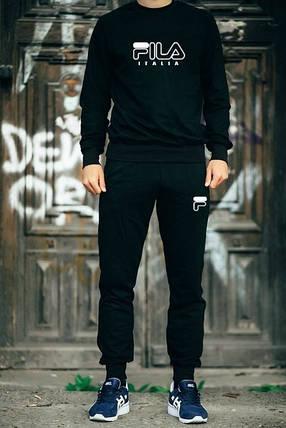 Мужской Спортивный костюм FILA черный с белым принтом, фото 2