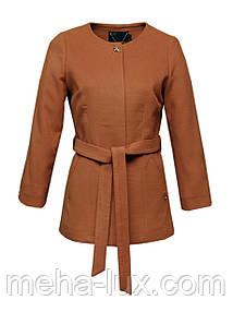 Пальто Icon укороченное с поясом без воротника светло рыжее