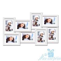 Фоторамка Александра на 8 фотографий 10х15, антибликовое стекло (белый)