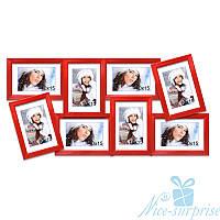 Фоторамка Валентина на 8 фотографий 10х15, антибликовое стекло (красный)