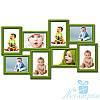 Фоторамка Лето на 8 фотографий 10х15, антибликовое стекло (зелёный)