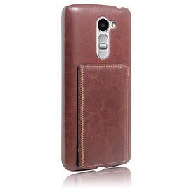 Чехол накладка для LG RAY X190 кожаный с отсеком для визиток, коричневый