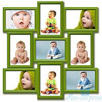 Фоторамка Классическая на 9 фотографий 10x15, антибликовое стекло (зелёный)