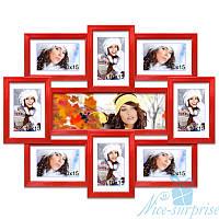 Фоторамка Виктория на 9 фотографий, антибликовое стекло (красный)