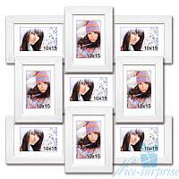 Фоторамки Классическая на 9 фотографий 10x15, антибликовое стекло (белый)