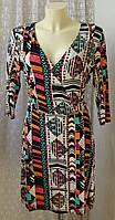 Платье женское летнее яркое модное вискоза стрейч миди бренд Next р.48 6367