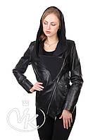 Куртка кожаная с капюшоном черная