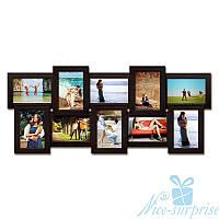 Фоторамка Классическая на 10 фотографий 10х15, антибликовое стекло (чёрный)