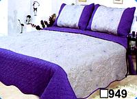 Стеганное покрывало с двумя наволочками евро размера CLOBAN с фиолетовыми краями