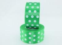 Лента атлас 5 см зелёная в горошек