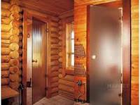 Стеклянные двери  в сауну