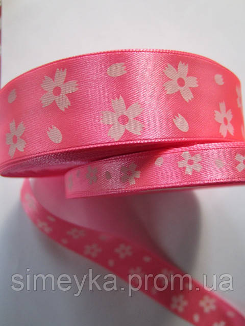 Лента атлас 2,5 см ярко-розовая в белый цветочек