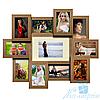 Фоторамка София на 11 фотографий, брашированная, антибликовое стекло (светлое дерево)