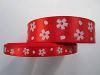 Лента атлас 0,9 см красная в белый цветочек