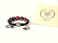 Браслет Шамбала (Shambala) Красный с гематитом и серебряной застёжкой