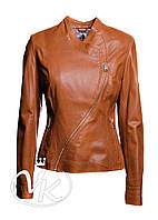 Кожаная куртка косуха, коричневая