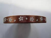 Лента атлас 0,9 см коричневая (шоколад) в белый цветочек