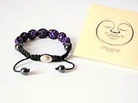 Браслет Шамбала (Shambala) Фиолетовый с серебряной цельной застёжкой