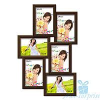 Фотоколлаж на стену Аврора на 6 фотографий 10х15, антибликовое стекло (коричневый)