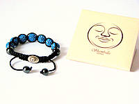 Браслет Шамбала (Shambala) синий с серебряной цельной застёжкой