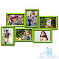 Фоторамку для фото Аврора на 6 фотографий 10х15, антибликовое стекло (зелёный), фото 1