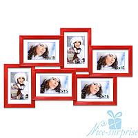Фоторамка коллаж Аврора на 6 фотографий 13х18, антибликовое стекло (красный), фото 1